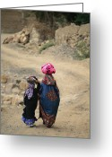 Headgear Greeting Cards - A Yemeni Woman And Child Carrying Greeting Card by Michael Melford