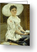 Smoking Book Greeting Cards - A Young Beauty in a White Hat  Greeting Card by Franz Xaver Simm