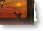 Golden Framed Prints Greeting Cards - A Young Deer Greeting Card by Thomas York