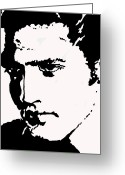 Silhouettes Of Famous People Greeting Cards - A Young Elvis Greeting Card by Robert Margetts
