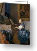 Seated Greeting Cards - A Young Lady Seated at a Virginal Greeting Card by Jan Vermeer