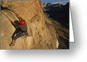 Wyoming Greeting Cards - A Young Man Climbing The North Tower Greeting Card by Bobby Model