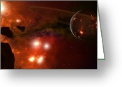 Catastrophe Greeting Cards - A Young Ringed Planet With Glowing Lava Greeting Card by Frieso Hoevelkamp