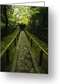 Kansai Triangle Greeting Cards - A Zen Path Leads To The  Entrance Greeting Card by Michael S. Yamashita