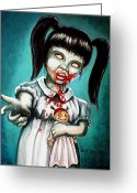 Little Girl Greeting Cards - Aaarrgg Thats Zombie talk for Mommy Greeting Card by Al  Molina