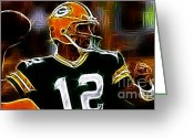 Qb Greeting Cards - Aaron Rodgers - Green Bay Packers Greeting Card by Paul Ward