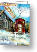Landscape Cards Greeting Cards - Abandoned Caboose Greeting Card by Mindy Newman