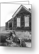 Antique Fan Greeting Cards - Abandoned Car and Home Bodie CA Greeting Card by Troy Montemayor