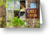 Pitted Greeting Cards - Abandoned Factory with Rusted Metal Sign Greeting Card by Gordon Wood
