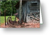 Homesickness Greeting Cards - Abandoned Farm Hay Cutter Greeting Card by Douglas Barnett