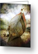 Sepia Greeting Cards - Abandoned Fishing Boat Greeting Card by Meirion Matthias