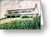 Abandoned House Painting Greeting Cards - Abandoned House Greeting Card by MB Matthews