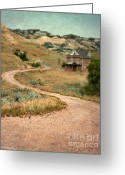 Vintage House Greeting Cards - Abandoned House on Dirt Road Greeting Card by Jill Battaglia