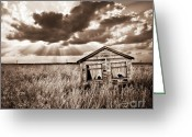 Shed Photo Greeting Cards - Abandoned Greeting Card by Meirion Matthias