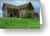 Dilapidated Greeting Cards - Abandoned Montana Homestead Greeting Card by Sandra Bronstein
