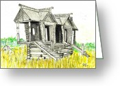 Dilapidated Drawings Greeting Cards - Abandoned Russian playhouse Greeting Card by Tibi K