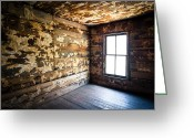 Deteriorated Greeting Cards - Abandoned Smoky Mountains Farm House - The Window Greeting Card by Dave Allen