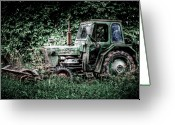 Rot Greeting Cards - Abandoned Tractor Greeting Card by Gert Lavsen