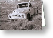 Snow Capped Photo Greeting Cards - Abandoned Truck Greeting Card by Janeen Wassink Searles