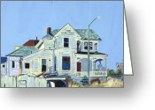 Abandoned House Painting Greeting Cards - Abandoned Victorian in Oakland  Greeting Card by Asha Carolyn Young