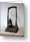 Bronze Sculpture Greeting Cards - Abandoned village Greeting Card by Nikola Litchkov