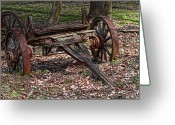 Antique Wagon Greeting Cards - Abandoned Wagon Greeting Card by Tom Mc Nemar