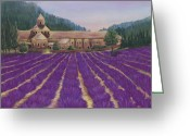 Lavender Greeting Cards - Abbaye Notre-Dame de Senanque Greeting Card by Anastasiya Malakhova