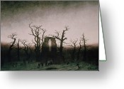 Romanticist Greeting Cards - Abbey in the Oakwood Greeting Card by Caspar David Friedrich