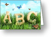 Spell Greeting Cards - ABC letters in the grass Greeting Card by Sandra Cunningham