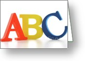 Toy Greeting Cards - ABC letters on white  Greeting Card by Sandra Cunningham
