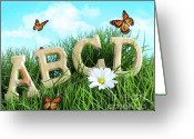 Spell Greeting Cards - ABC letters with daisy in grass Greeting Card by Sandra Cunningham