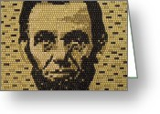 Abraham Mixed Media Greeting Cards - Abe Lincoln Greeting Card by Doug Powell