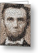 Abraham Mixed Media Greeting Cards - Abe Lincoln Presidents Mosaic Greeting Card by Paul Van Scott