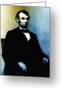 Abraham Mixed Media Greeting Cards - Abe Lincoln Seated Greeting Card by Bill Cannon
