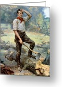 American History Painting Greeting Cards - Abe Lincoln The Rail Splitter  Greeting Card by War Is Hell Store