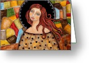 Prints Pastels Greeting Cards - Abigail Greeting Card by Rain Ririn