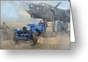 Military Vehicle Greeting Cards - Able Mable and the Blue Lagonda  Greeting Card by Peter Miller 
