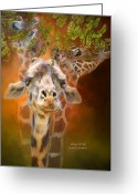 African Giraffes Greeting Cards - Above It All Greeting Card by Carol Cavalaris