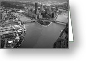 Pirates Greeting Cards - Above Pittsburgh  Greeting Card by Emmanuel Panagiotakis