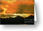Sunset Posters Greeting Cards - Above the Clouds Greeting Card by Johanne Peale