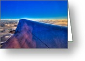 Cumulus Cloud Greeting Cards - Above the Clouds on a 757 Greeting Card by David Patterson