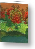 Country Dirt Roads Painting Greeting Cards - Above the River Greeting Card by Olena Kulyk