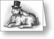 Hare Drawings Greeting Cards - Abracadabra Greeting Card by Adam Zebediah Joseph