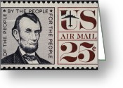Postage Stamp Greeting Cards - ABRAHAM LINCOLN (1809-1865). 16th President of the United States. On a U.S. postage stamp, 1960 Greeting Card by Granger
