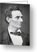 Presidential Portrait Greeting Cards - Abraham Lincoln Greeting Card by Alexander Hesler