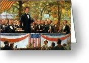 1918 Greeting Cards - Abraham Lincoln and Stephen A Douglas debating at Charleston Greeting Card by Robert Marshall Root