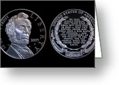 Commemorative Greeting Cards - Abraham Lincoln Commemorative Silver Dollar Coin Greeting Card by Randy Steele