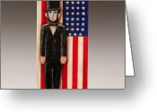 Woodcarving Reliefs Greeting Cards - Abraham Lincoln Greeting Card by James Neill