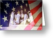 Flag Of The United States Greeting Cards - Abraham Lincoln Memorial blended with American flag Greeting Card by Sami Sarkis