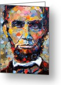 President Painting Greeting Cards - Abraham Lincoln portrait Greeting Card by Debra Hurd
